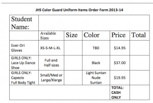 JHS Color Guard Uniform Items Order Form 2013-2014