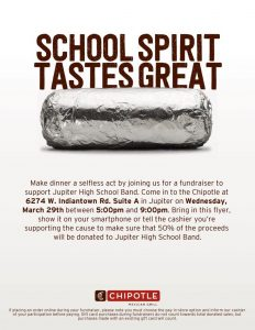 Chipotle Fundraiser on Wednesday, March 29 from 5 pm to 9 pm